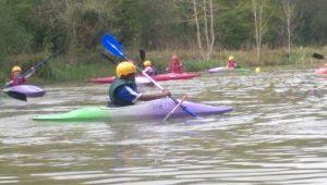 Kayaking on lake.